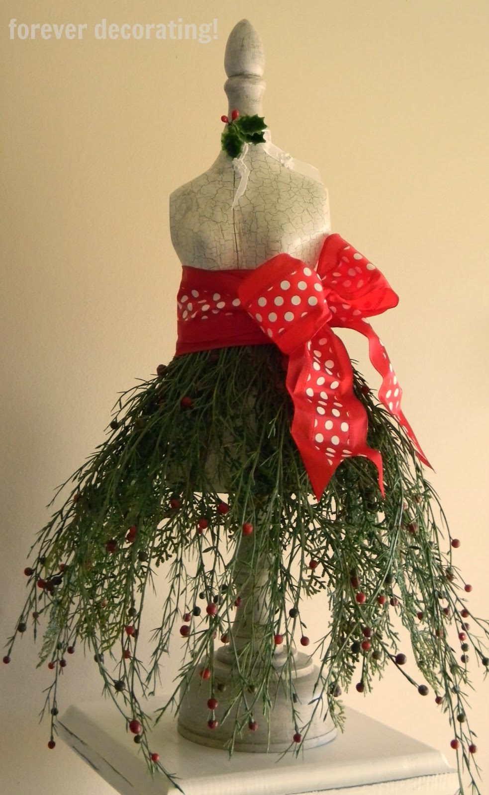 Forever decorating christmas greenery dress form tutorial