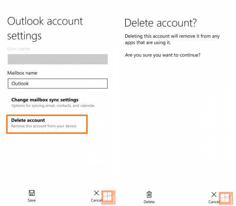 outlook account on windows 10 phone