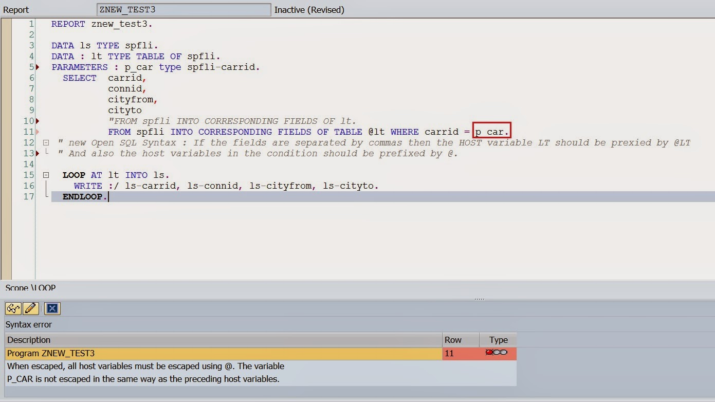 Techsap Use Of Escape Symbol In New Open Sql With Work Area