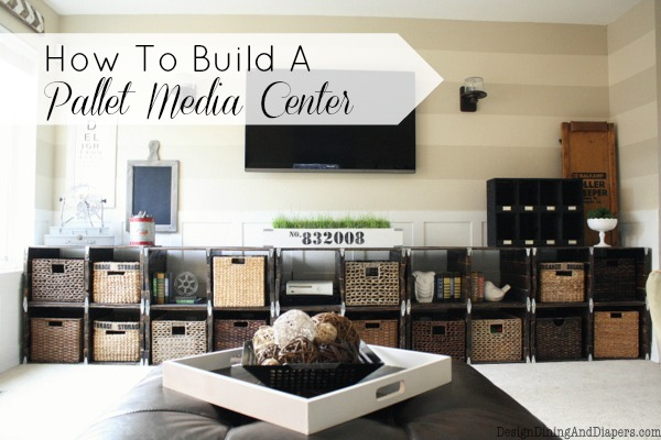 Build a pallet wood media centre - By Design, Dining and Diapers featured on I Love That Junk