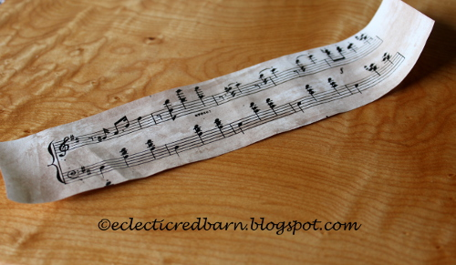 Eclectic Red Barn: Sheet music stained