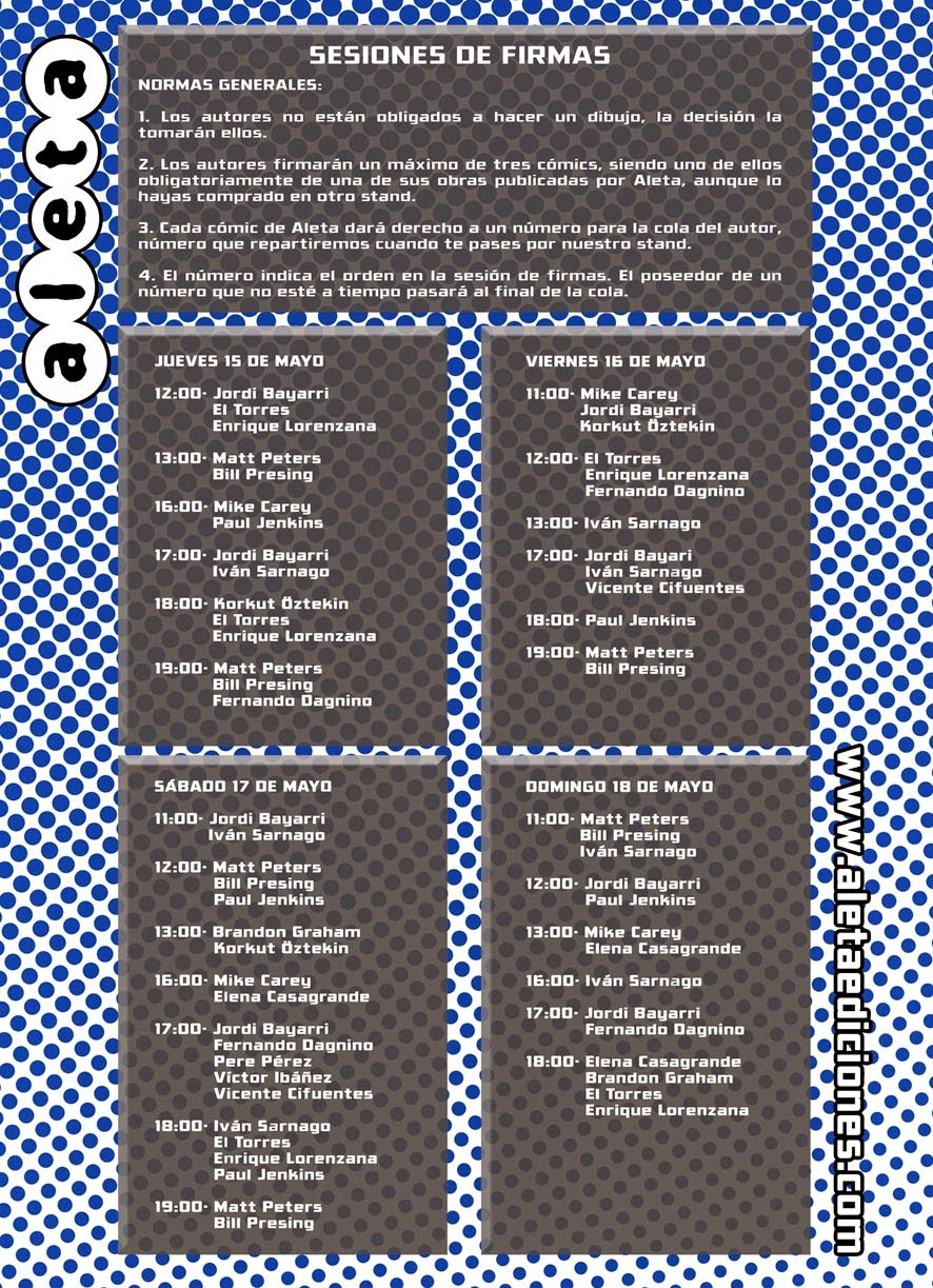Horario de firmas Aleta Ediciones