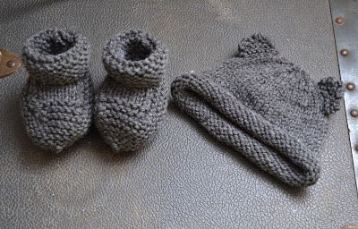 knitted baby things (baby bear hat, booties, blanket, and bubble pants
