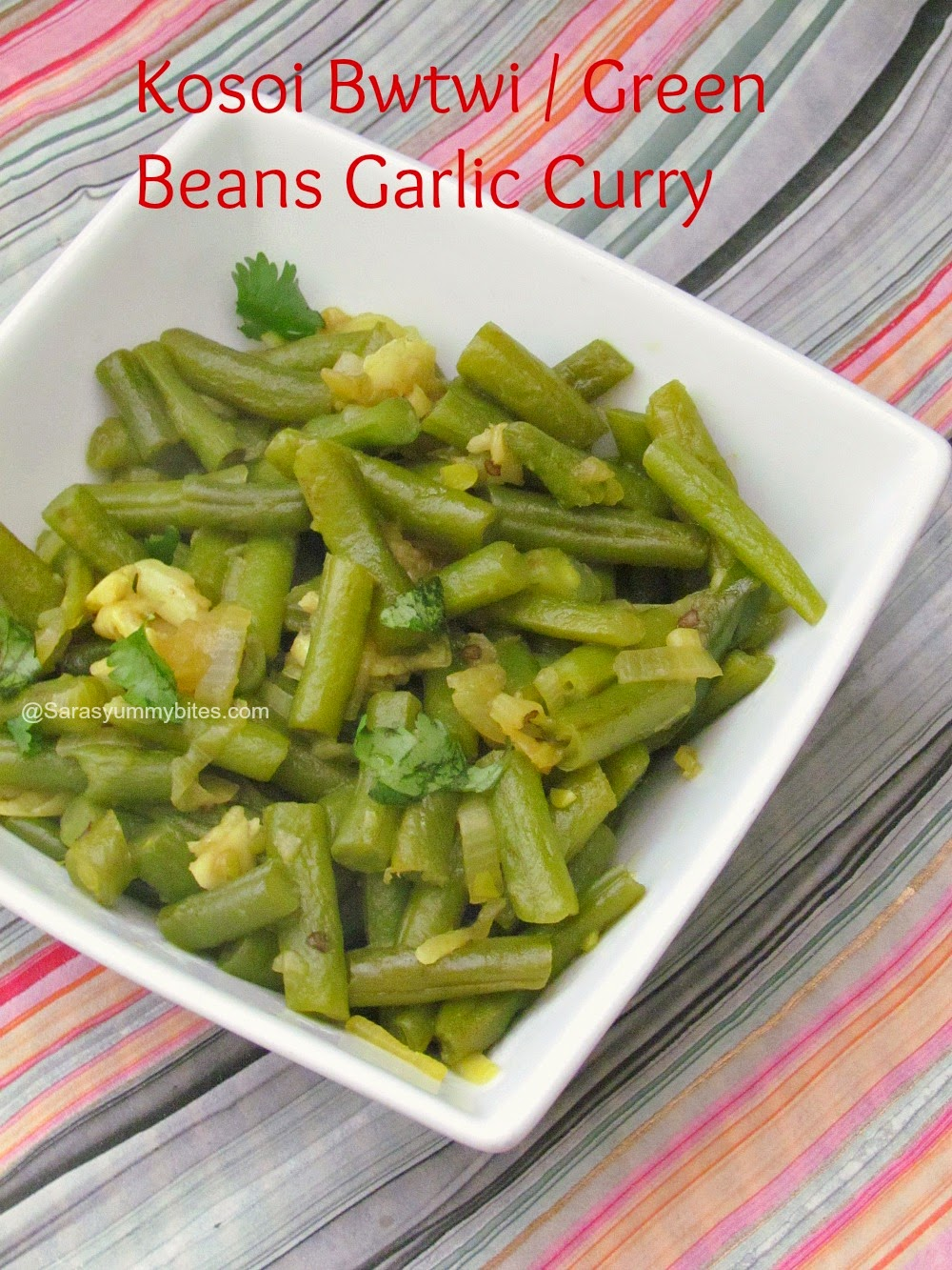 Kosoi Bwtwi / Green Beans Garlic Curry