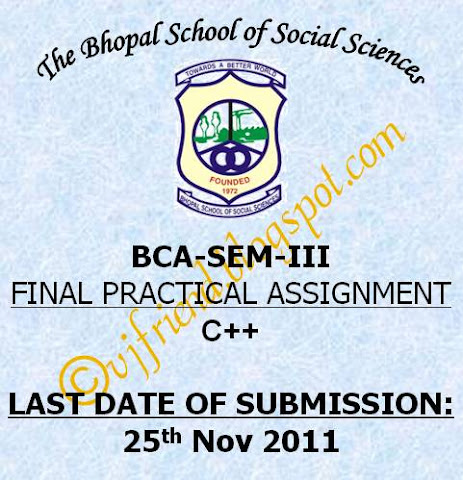 BCA-Sem-III - C++ Final Assignment 2011
