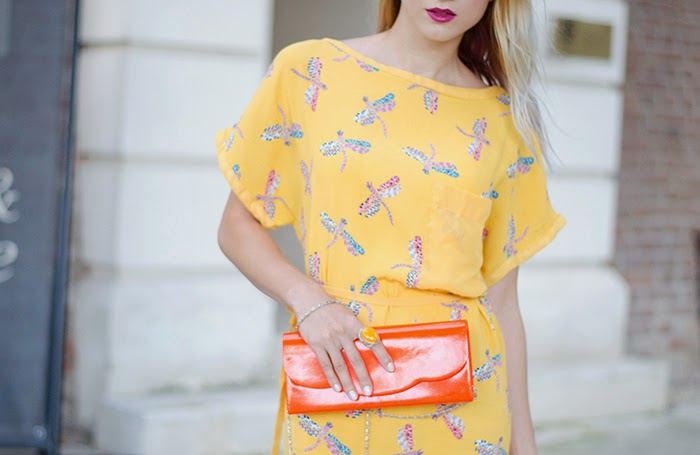 zara dragonfly print yellow dress orange bag