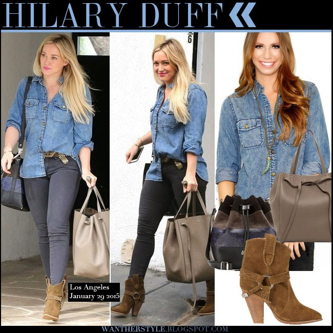 Hilary Duff in blue denim shirt Current Elliott, grey skinny jeans with brown suede ankle boots Isabel Marant Rawson want her style january 29