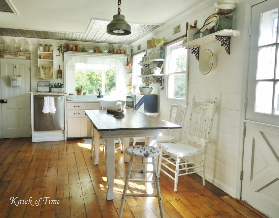 Farmhouse vintage shabby style home tour debbiedoo 39 s for How to style a kitchen