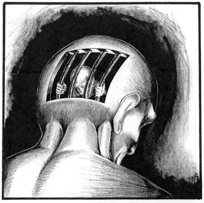black and white drawing of a prison cell inside the back of a man's head with him inside