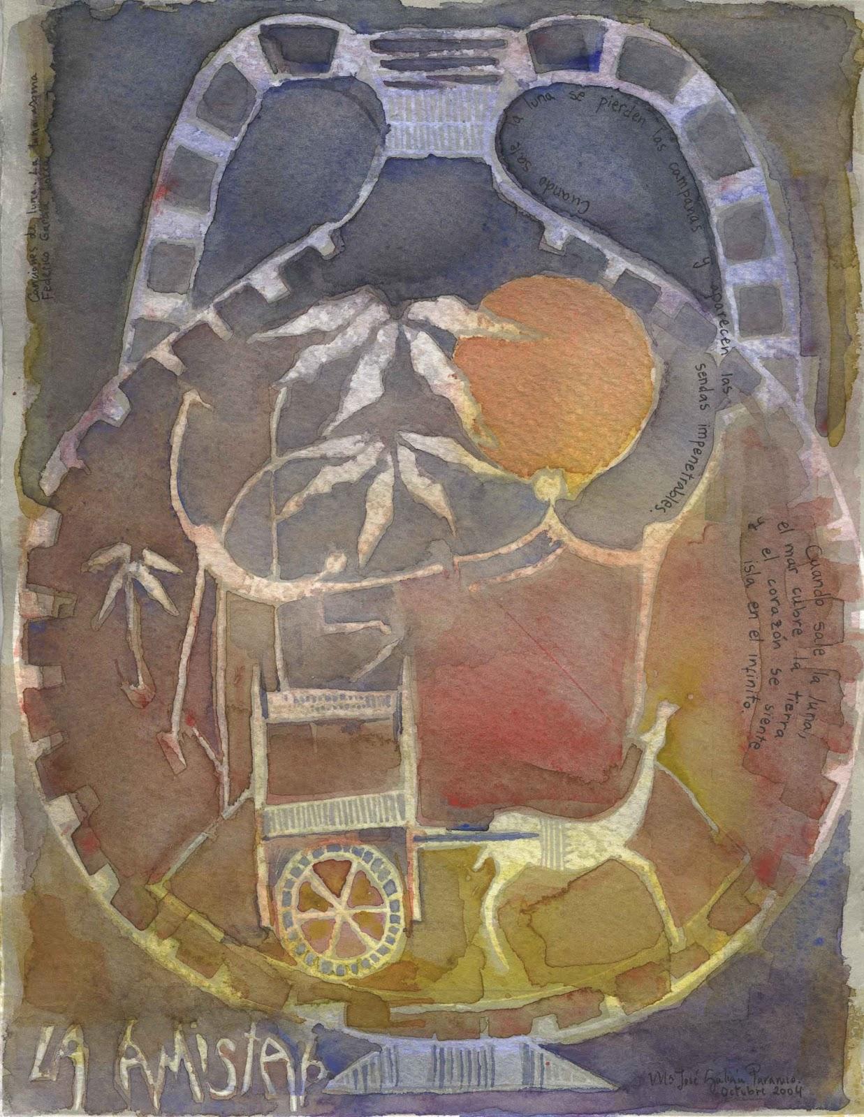 """Este fue uno de los primeros grabados al linóleo que coloreé con acuarelas (con poema dedicado). Ahora su propietario es Luismi, quien lo tiene adormando las paredes de su casa. """"Cuando sale la luna se pierden las campanas y aparecen las sendas impenetrables. Cuando sale la luna el mar cubre la tierra y el corazón se siente isla en el infinito""""."""