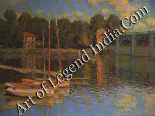 "The Great Artist Claude Monet Painting ""The Bridge at Argenteuil"" 1874 23 5/3"" x 311/2"" Musee d'Orsay, Paris"