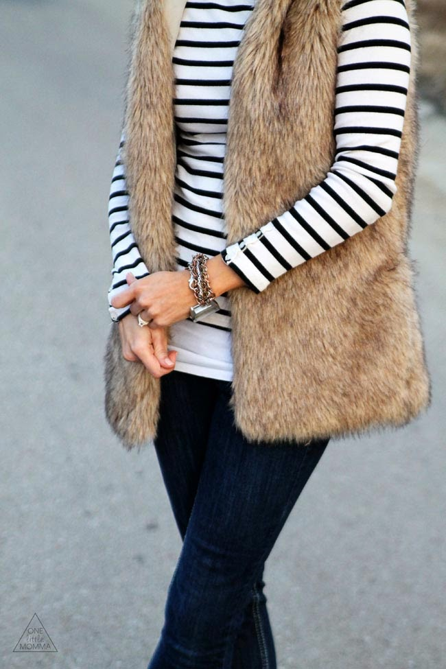 Fur, stripes and dark denim