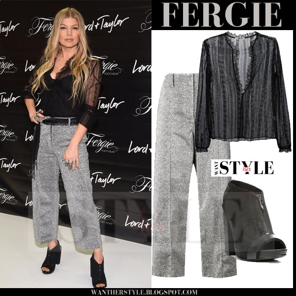 Fergie in black sheer rodarte blouse, grey silver edun trousers and fergie footwear open toe ankle boots what she wore october 15