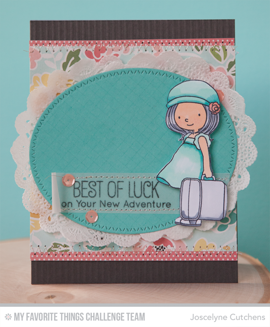 Best of Luck Card by Joscelyne Cutchens featuring the Birdie Brown Adventure is Calling stamp set and Zig Zag Stitched Oval STAX Die-namics