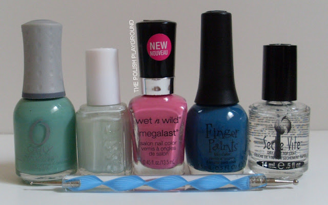 Orly, Essie, Wet n' Wild, Finger Paints, Seche Vite, dotting tol