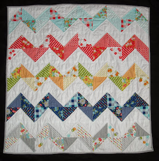 Moda, Happy-Go-Lucky, happy go lucky, chevron baby quilt, HST, half square triangles, baby girl quilt, baby blanket