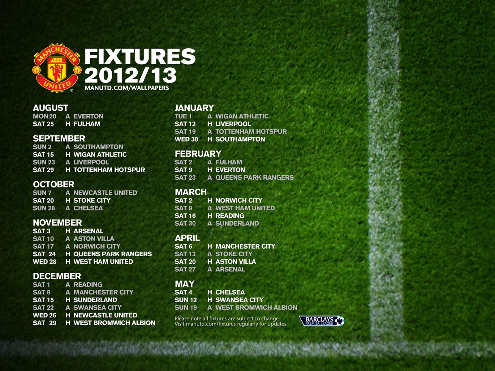 Premier League fixtures wallpaper manchester united 2012-2013 version