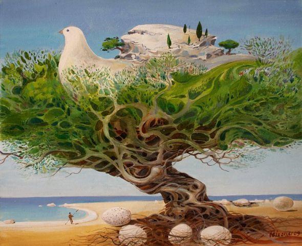 Vasko Taskovski pinturas surreais psicodélicas paisagens animais