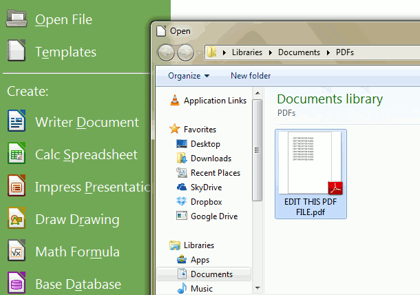 Open PDF from Open File Menu