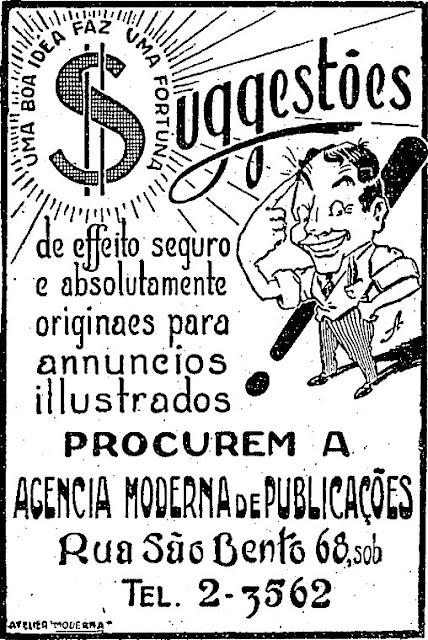 Anúncio de agência de propaganda em 1930, veiculado no jornal 'O Estado de São Paulo'.