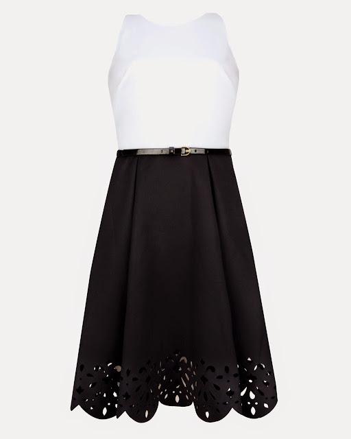 ted baker scallop dress, white top black skirt dress
