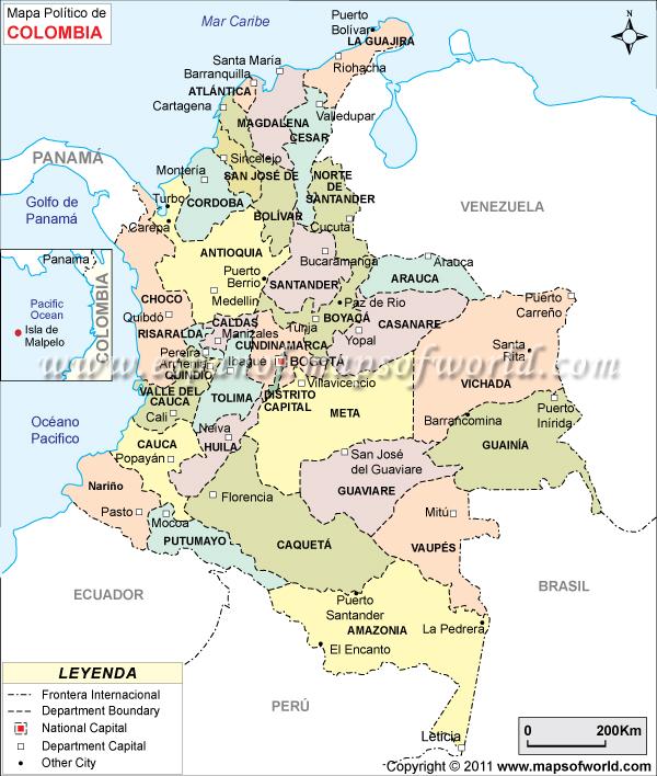 Mapa politico de colombia con sus capitales y departamentos para ...