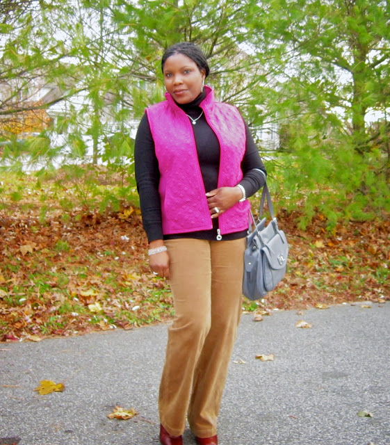 Hot pink vest, old navy cords, how to wear a vest, turtle neck sweater