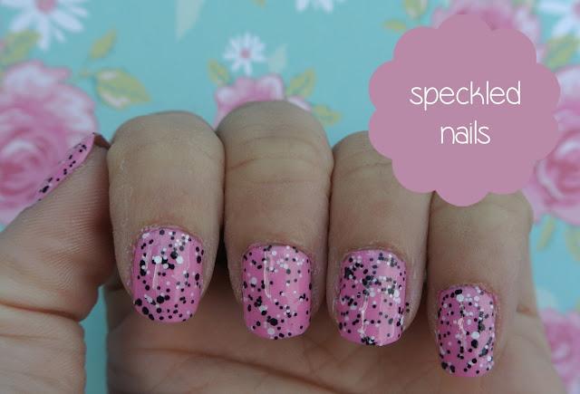 pink speckled nails