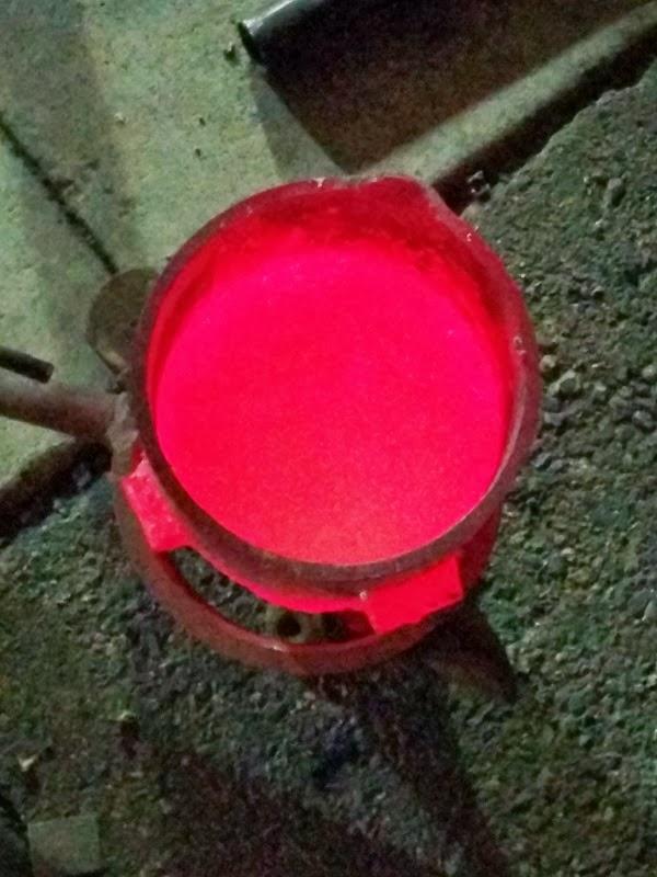 glowing molten aluminum