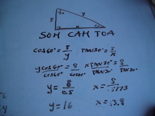 special triangles, SOH CAH TOA