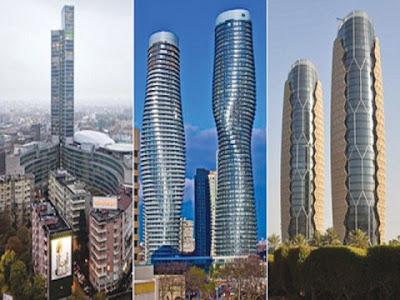 Kiri ke kanan: Palazzo Lombardia (Milan, Itali), Menara Absolute (Mississauga, Kanada) & Menara Al-Bahar (Abu Dhabi)
