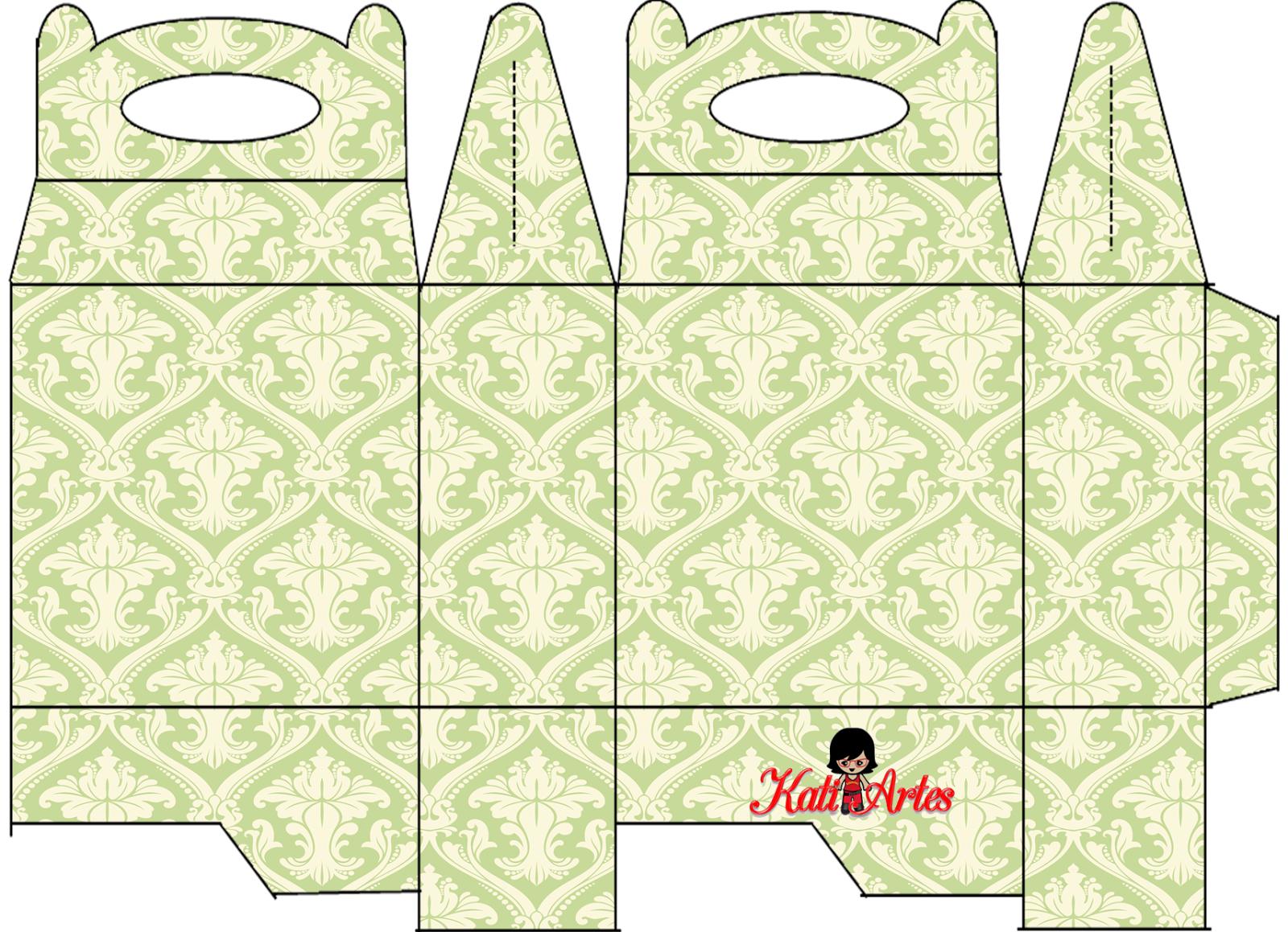 Damascos Blancos en Verde: Caja para Lunch, para Imprimir Gratis.