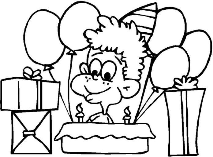 Un feliz cumpleaños para colorear y pintar | Dibujos para Colorear ...