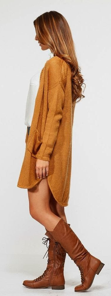 Amazing Long Brown Cardigan, White Blouse and Brown Long Shoes