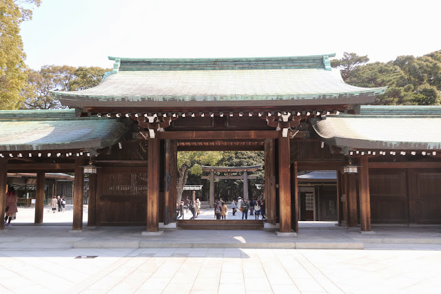 Magnificent shot from the Shrine Memorial Hall area with the main entrance of the wooden torrii gate at Meiji Shrine in Tokyo, Japan