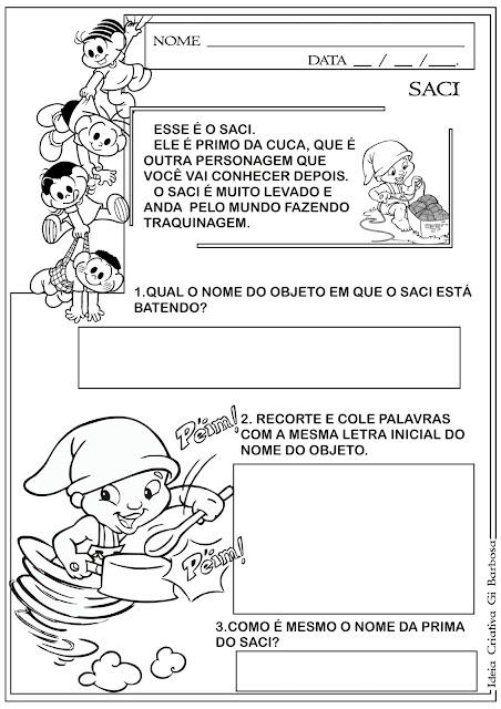 Atividade Dia do Livro Infantil Sítio do Pica Pau Amarelo