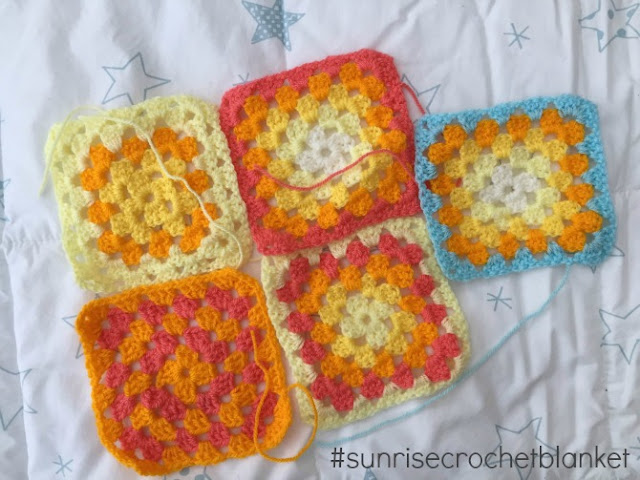 Sunrise Crochet blanket squares