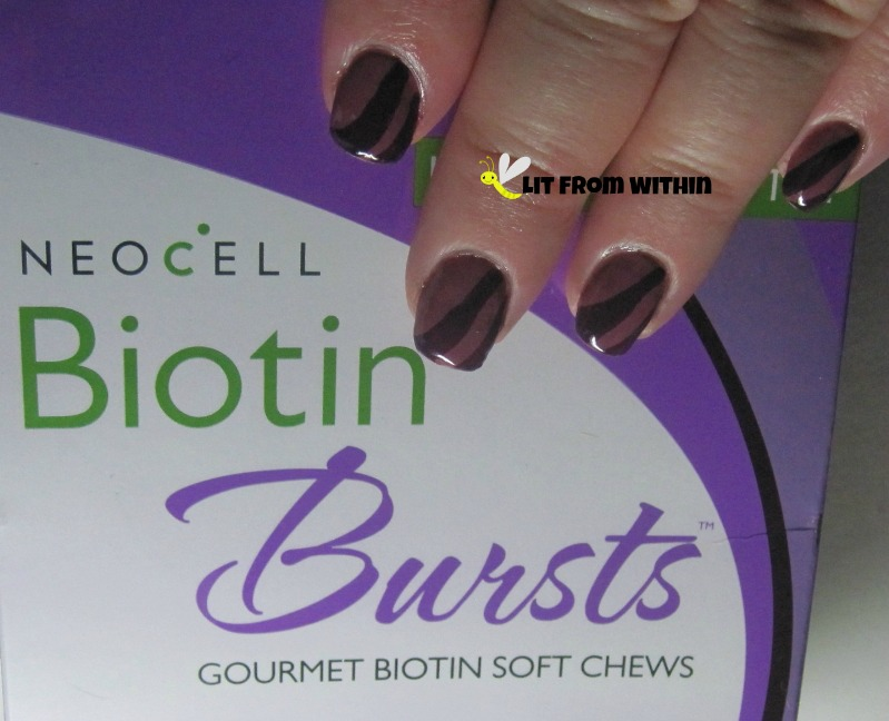 Neocell Biotin Bursts-inspired nail art with Maybelline Mauve in Manhattan and Milani Hipster Plum