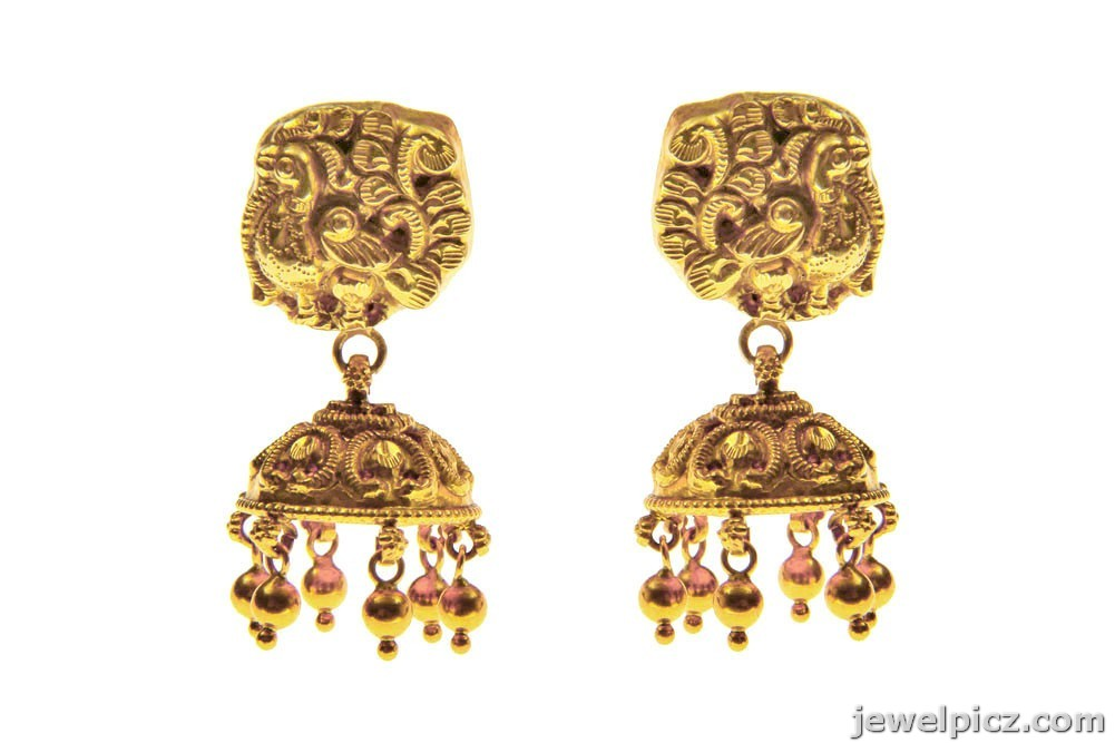 beautiful gold jhumka buttalu models from c krishna