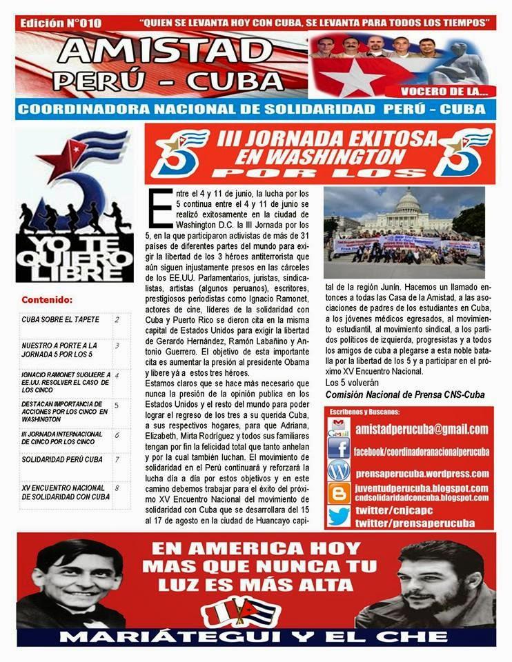 "BOLETÍN N°010 ""AMISTAD PERÚ CUBA"""