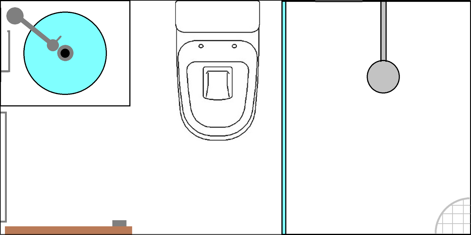 Cafofo Sonhado: Decorando banheiros pequenos: 2 banheiros 2m² cada  #06C5C5 1600x800 Banheiro Branco Com Vaso Sanitario Preto