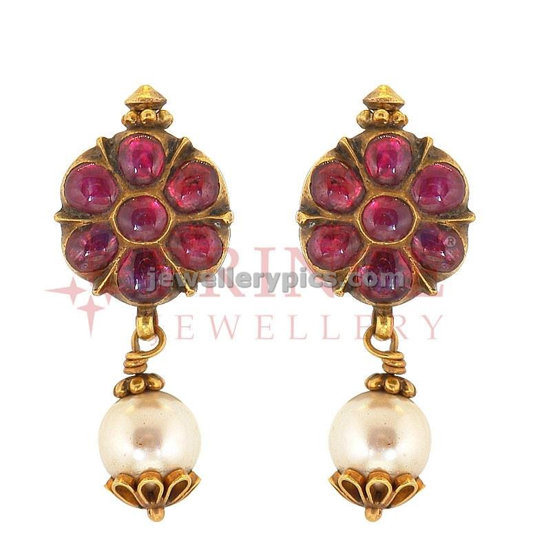 Antique ruby earrings design by Prince jewellers - Latest ...