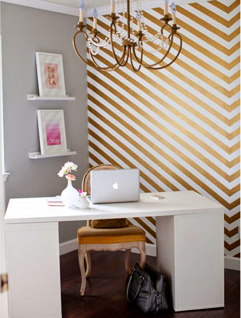 golden and white deco office