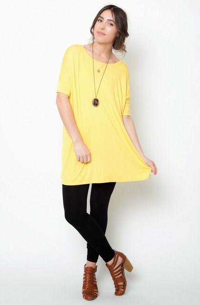 Buy online short sleeve  yellow ballet sleeve tunic for women