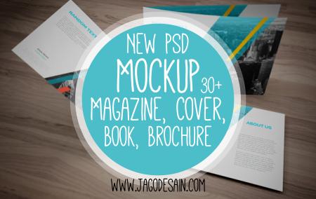 Download Gratis Mockup Majalah, Brosur, Buku, Cover Template PSD