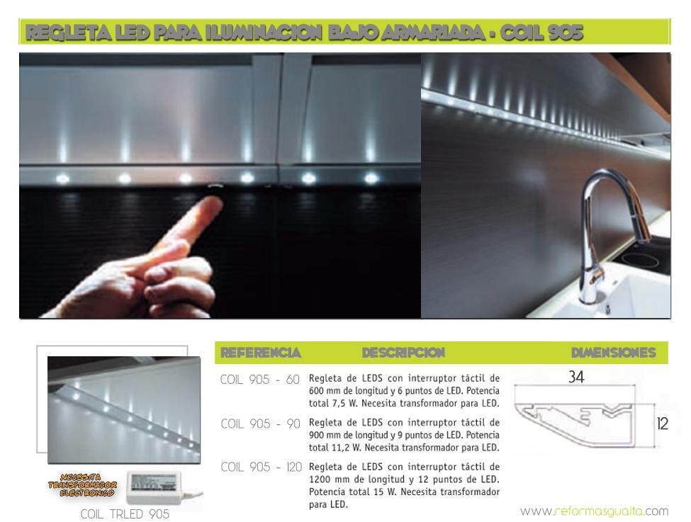 Regleta led para iluminacion bajo armariada en la cocina - Regleta led cocina ...
