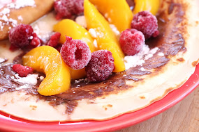Crepes w/ Peaches & Frozen Raspberries