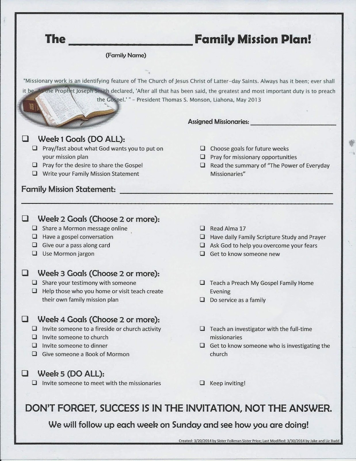 lds ward mission plan template image collections