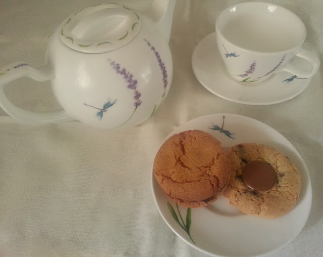 White Tea Set with Dragonflies