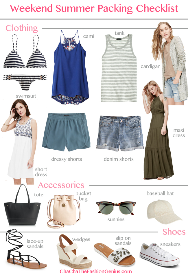 Summer Weekend Vacation Packing Checklist